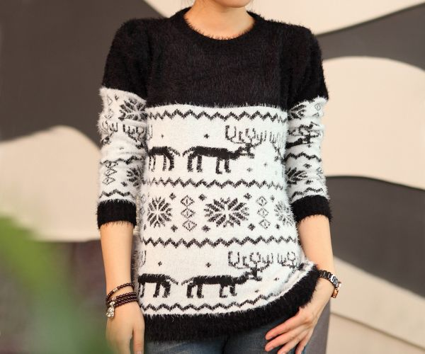 Fawn sweater,Cute deer owflake pattern mohair sweaters