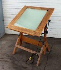 Hamilton Vintage Lighted Drafting Table Desk Adjustable Oak Industrial  Steampunk