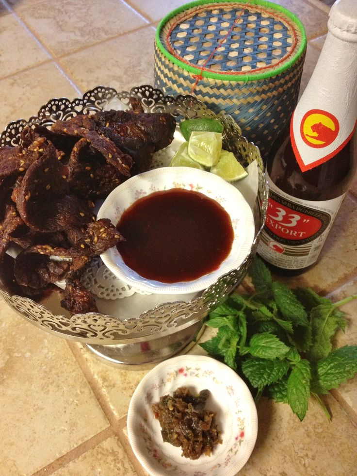 Laotian beef jerky, Jeow Pha daek, Laotian tamarind infused BBQ sauce an icy cold brew & some sticky rice! What are you waiting for?  8055 Elk Grove Florin Rd Sacramento, Ca 95828!