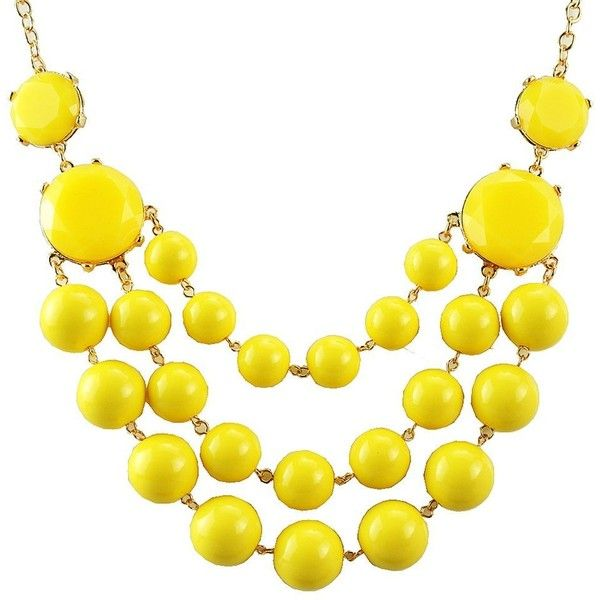 Amazon.com: Jane Stone Statement Necklace 3 Layers Bead Chunky Yellow:... ($12) ❤ liked on Polyvore featuring jewelry, necklaces, yellow statement necklace, layered bead necklace, beaded statement necklace, bib statement necklace and choker necklace