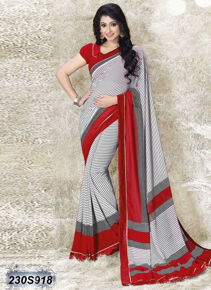 Exquisite Red and White Coloured Georgette Saree