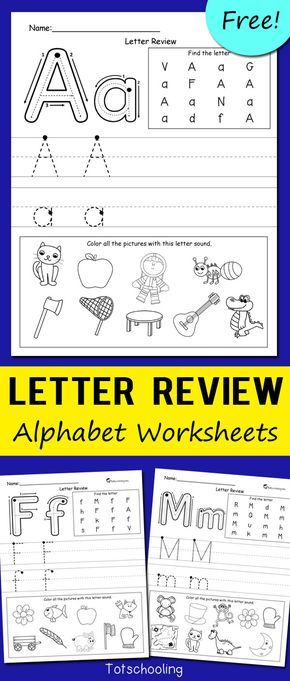 FREE alphabet worksheets for kindergarten kids to review letters and letter sounds, and practice proper letter formation.