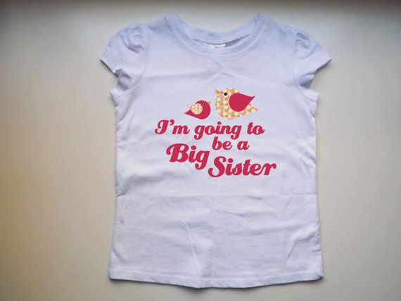 Big Sister Shirt - Pregnancy announcement shirt. White cap sleeve with birdies - retro look  Hand-pressed