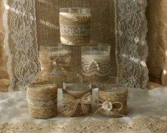 Burlap and lace tea candles от Bannerbanquet на Etsy