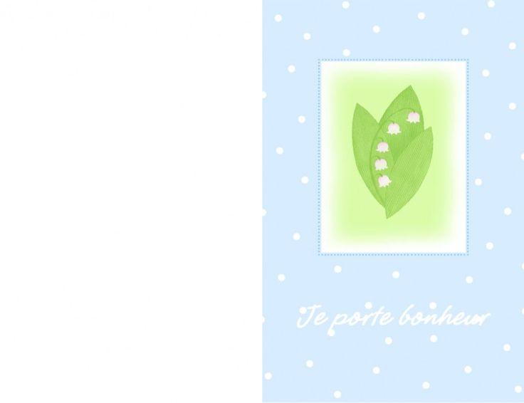 Carte de vœux brin de muguet 1 mai à imprimer pour la fête du travail