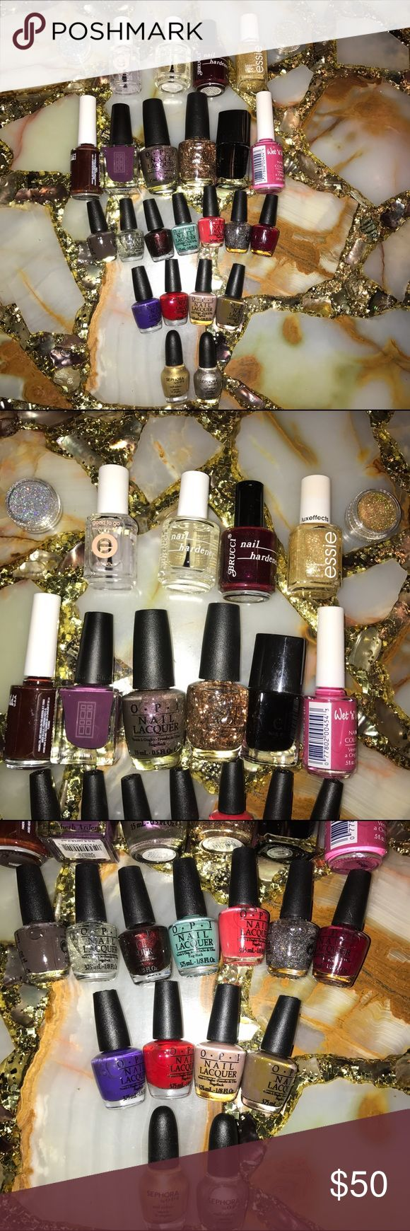 💅🏻 23 Nail Polishes  💅🏻 23 Nail Polishes. 11 Opi mini 3.75ml 2 opi by Sephora 3.75ml, 2 Wet 'n' Wild 14ml, 1 Elizabeth Arden 14.7ml, 1 elf, 2 Brucci, 1 Essie  luxeffects 13.5ml, 1 Essie Good to Go Topcoat, Opi Gold Shimmer, Opi Silver Shimmer, 2 Opi 15ml. **No Trades**  ***Prices are negotiable, offers are welcomed***  Check out the bundle discount / I accept reasonable offers. Happy Shopping! 😊 Opi Essie Sephora Other