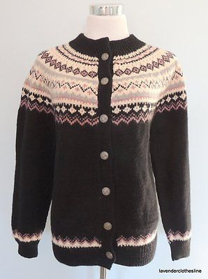 Dale Of Norway L 44 Wool Fair Isle Nordic Black Pink Pristine Cardigan Sweater