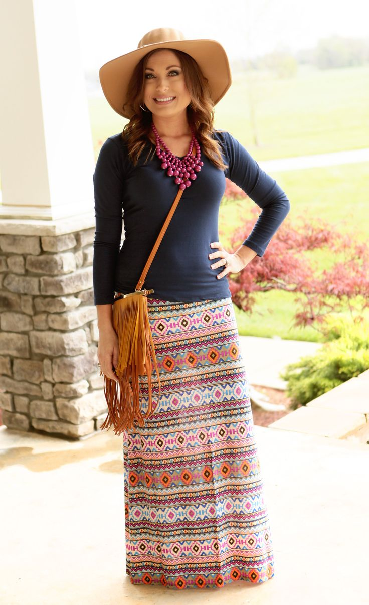 Madison Aztec Maxi Skirt