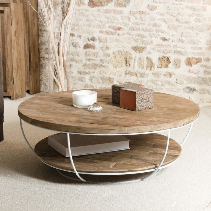 Coffee Table Round Wood And White Metal 100cm Tinesixe Con