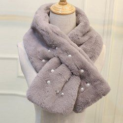 Chic Faux Pearl Embellished Faux Fur Winter Scarf For Women