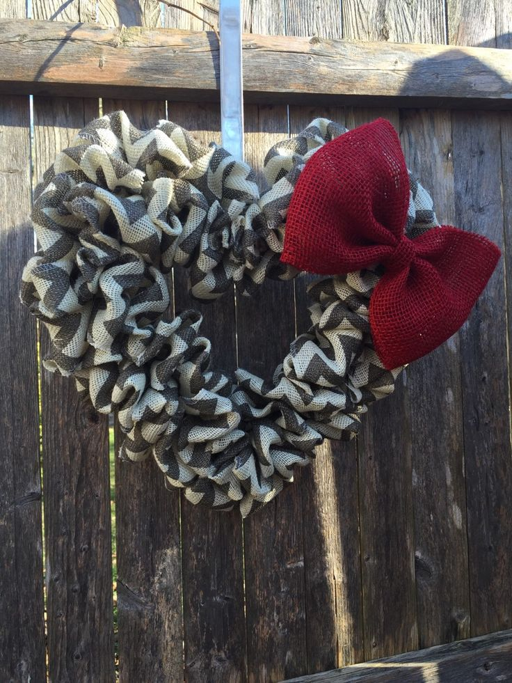 Valentine Day Gray/Ivory Chevron burlap heart wreath with red bow outdoor spring summer love decor holiday door hanger rustic year round by SchantzyChicDesigns on Etsy https://www.etsy.com/listing/245584694/valentine-day-grayivory-chevron-burlap