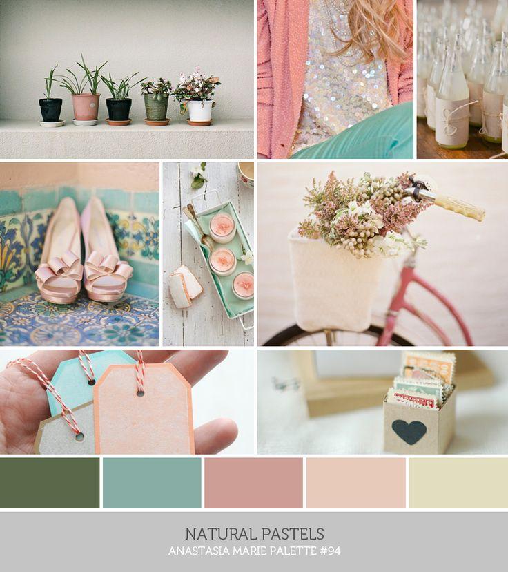 see blog post for image credits… inspiration board: natural pastels #green #teal #mauve #pink