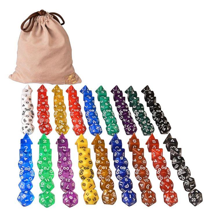 126 Polyhedral Dice - 18 colors w/ Complete set of d4 d6 d8 d10 d12 d20 d%