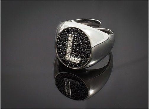 Anello Donna Think Positive regolabile con iniziale L in argento 925 e swarovski