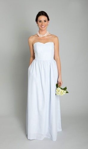 If you don't want them to wear white, but you would prefer muted colors, try out seersucker.   See more preppy bridesmaid dresses here: http://www.mywedding.com/articles/preppy-bridesmaid-dresses/
