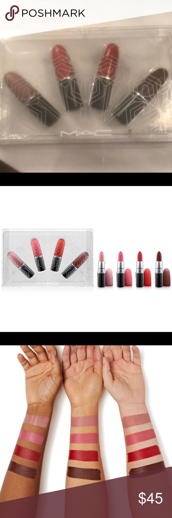 MAC SNOW BALL LIP KIT/WARM Brand new limited edition MAC lip kit. Never used or swatched. The kit includes 4 full sized lipsticks. A 70$ value. No trades.  Colors included: Nude Du Jour (light mauve, matte) Nouvelle Vouge (soft blue pink, matte) Russian Red (intense bluish-red, matte) Antique Velvet (intense brown, matte) MAC Cosmetics Makeup Lipstick