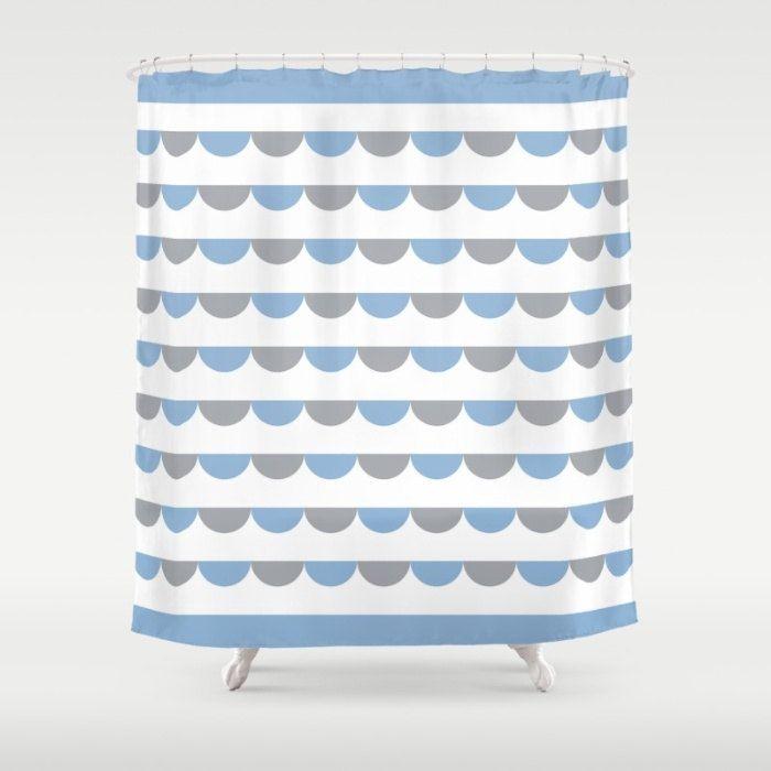 6 colours, Nordic Funfair Shower Curtain, Modern Scandinavian style geometric bathroom shower curtains, Powder Blue bathroom decor by ThingsThatSing on Etsy