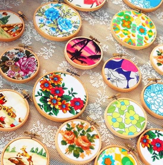 Vintage fabrics in embroidery hoops by Hipaholic