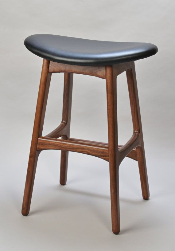 Mid Century Danish Modern Bar Stool.... something like this, but with a back??