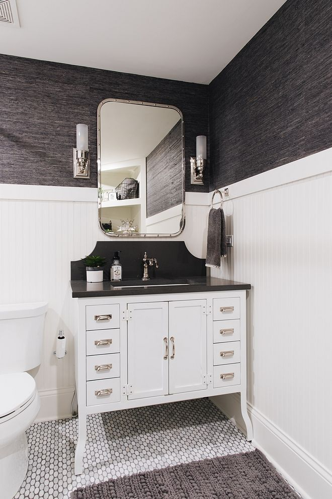 Bathroom With Beadboard Wainscoting Metal Bathroom Vanity