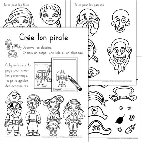 Fichier PDF téléchargeable En noir et blanc seulement 8 pages  Les enfants créent leur pirate en choisissant parmi les modèles de têtes, de corps et de chapeaux et accessoires. Ils calquent leurs choix sur la feuille prévue à cet effet. Cela leur apprend à tracer des lignes, à superposer des images et à user de créativité.