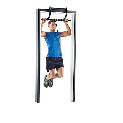 Turn your door frame into your own personal gym with the ProForm Door Gym with Pull-Up Assist Band. Develop your lats and strengthen your upper body with pull-ups or perform tricep dips when placed on the ground. Pull-up assist band helps you progress.