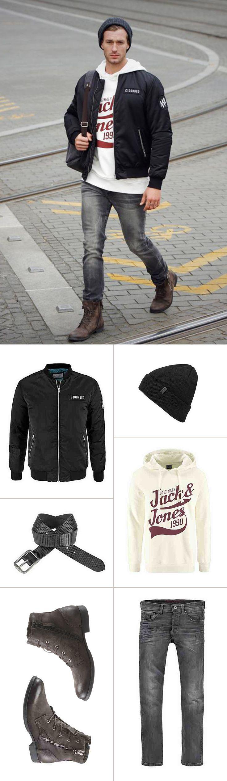 Dein kerniger Streetstyle für die kalte Jahreszeit. Der weiße Hoodie passt hervorragend zur grauen Slim-fit-Jeans und den robusten Schnürboots. Unbedingt dazu gehört die Bomberjacke – und das schwarze Beanie für warme Ohren an coolen Tagen.