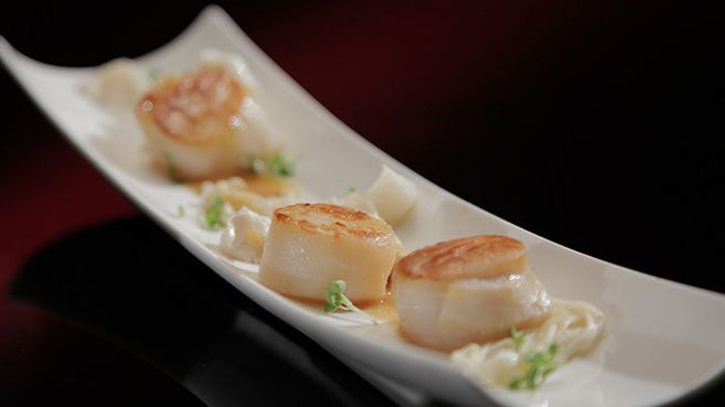 Seared Scallops with Miso and Ginger Sauce and Asian Mushrooms