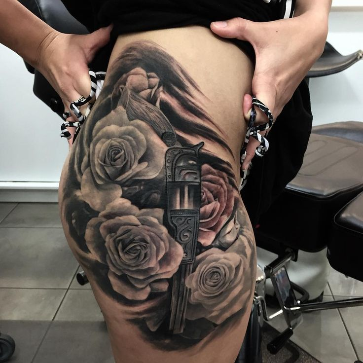 Gun and roses tattoo flowers tattoo pinterest tattoo for Gun tattoos for girls