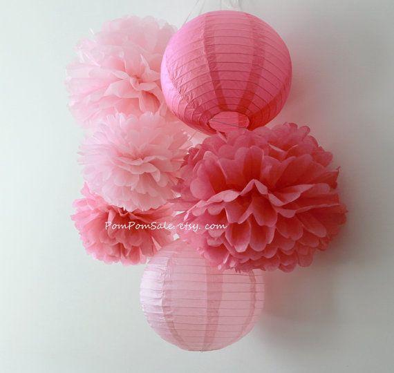 Pretty in Pink  4 Tissue Paper Pom Poms plus 2 Paper by PomPomSale, $18.00