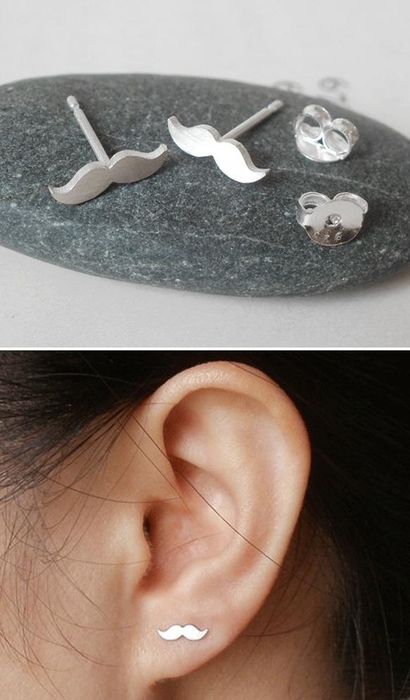 Mustache Stud Earrings
