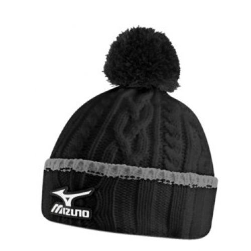 Mizuno Golf Waterproof Cable Knit Bobble Hat Black One Size Fit All