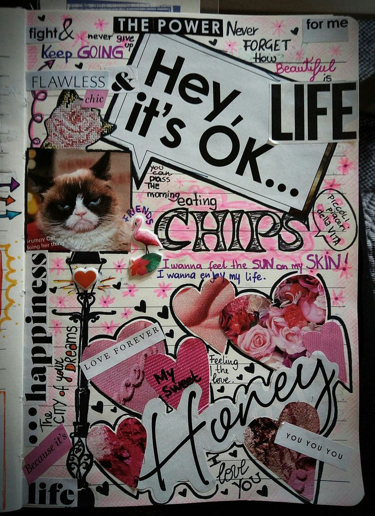 Hey, it's OK... When life goes down... Use the power of CrEATIVITy!  My diary. My note book. My style.  #notebook #collage #markers #pinkmood