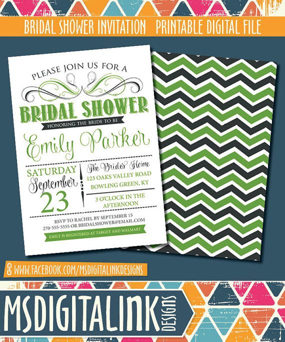 Bridal Shower Invitation  Printable by msdigitalinkdesigns on Etsy, $15.00