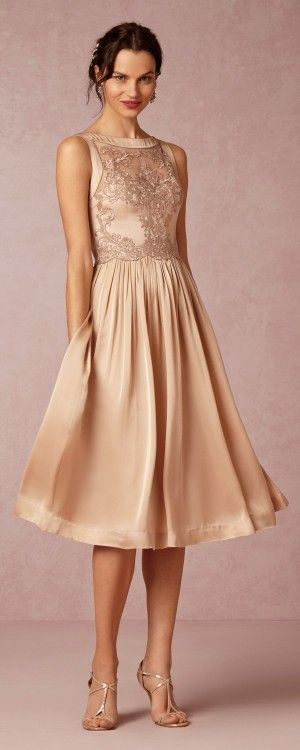Gorgeous Blush & Gold Toned Tea Length Dress perfect for the Groom's mother or bride's mother