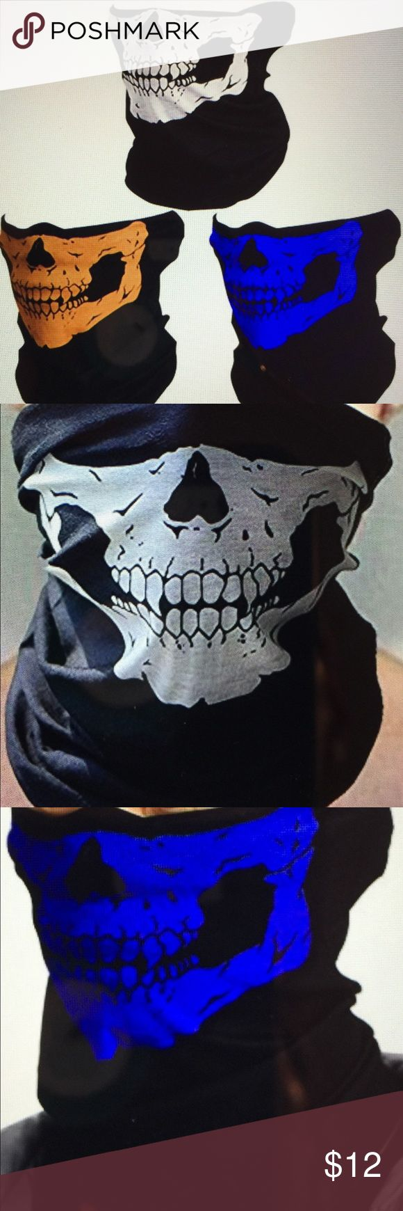 Skull ski face masks set of 3. New in packages. Fun facial covering for men or women. Great for hiking, motorcyclist, snowboarding, skiing, and other activities to keep your face blocked from the elements. Use for a costume or bandana, hair band, etc.  New in packages. Other