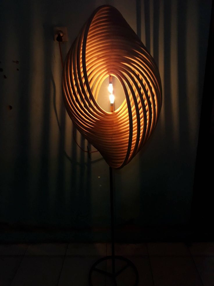 Floor Lamp Ring rattan with iron base