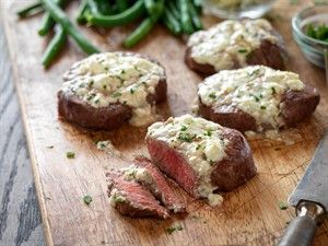 Beef Tenderloin Steaks with Blue Cheese Topping-UPDATED -- A classic steakhouse favorite ready in 25 minutes.