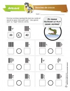 Dans cette activité de numération, l'élève est invité à comparer deux nombres représentés par des dizaines et des unités. Il doit choisir le symbole approprié (plus grand, plus petit ou égal) qui marque la relation et l'inscrire dans le cercle. Crocangle nous rappelle d'ailleurs qu'il mange toujours le plus grand nombre des deux! – ou...