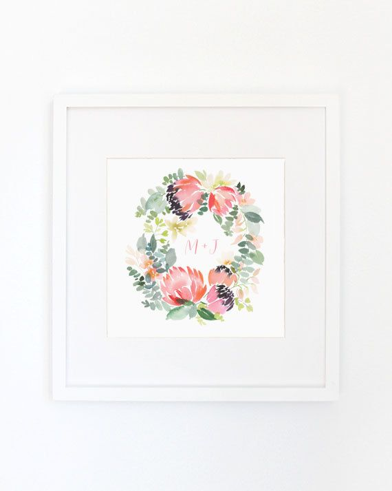 Protea Wreath  Monogrammed Watercolor Art Print by YaoChengDesign