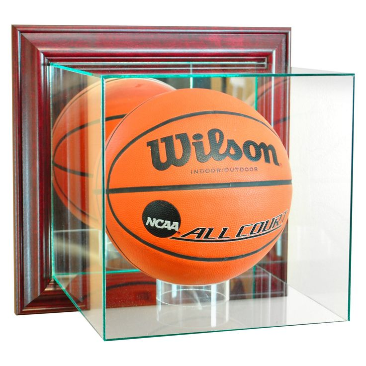 Perfect Cases - Wall Mounted Basketball Display Case - Cherry Finish, Clear