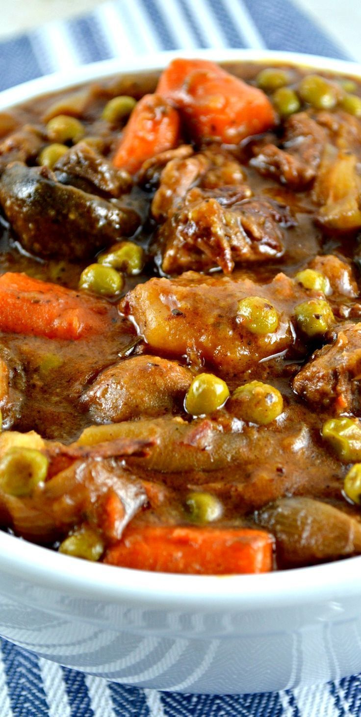 Easy Crockpot Beef Stew. The gravy is thick and rich and deliciously beefy…