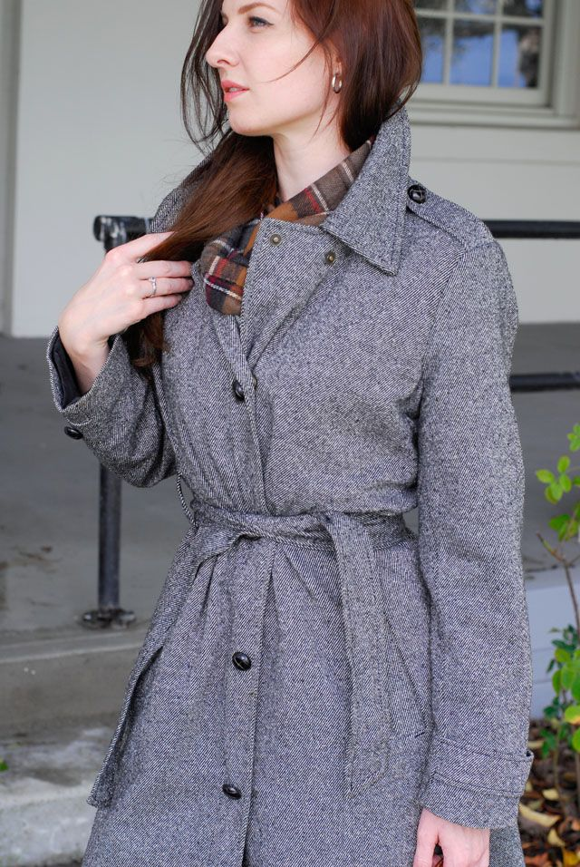 Old Navy Tweed Coat with custom-added leather buttons $12 at Hospice by the Bay Hodgepodge in San Rafael