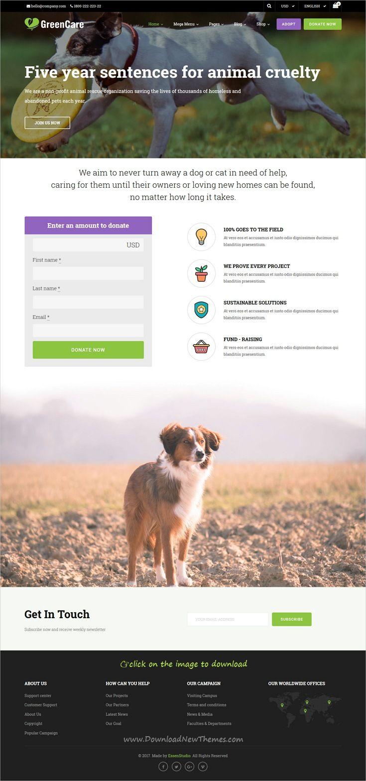 GreenCare is clean and modern design all-in-one responsive #WordPress theme for #animal #shelter #Charity and nonprofit organizations website with 6 niche homepage layouts to download 👉click on image.