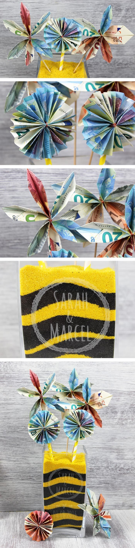 Ganz einfach: wunderschöne Geldblumen falten mit denen ihr garantiert für Begeisterung sorgt
