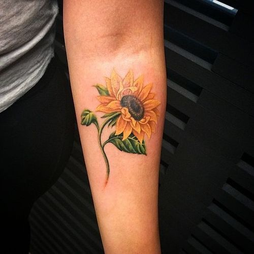 Small Sunflower Tattoo | Very realistic bright and colorful sunflower made on the inner forearm ...