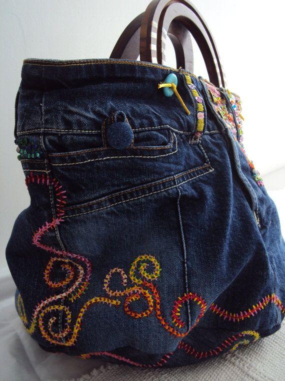 """Bolsas los Estilo Boho. Idéias Para Inspiração. Parte 5 Jeans """"Desgraça"""" ou índigo - Feira Mestres - artesanal, Feito à Mão"""