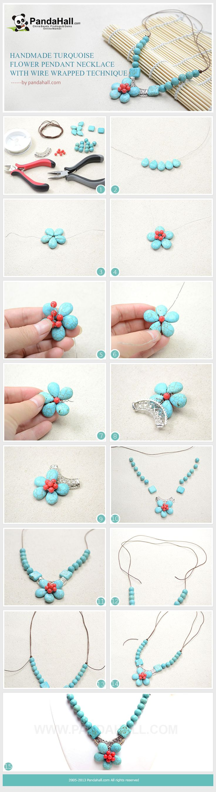 Handmade Turquoise Flower Pendant Necklace with Wire Wrapped Technique