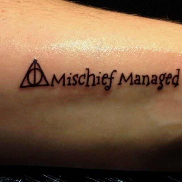 Mischief managed harry potter tattoo | Tattoos | Pinterest