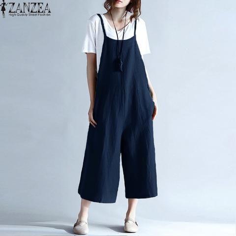 a70f506ca52a ZANZEA Womens Summer Spaghetti Straps Wide Leg Harem Loose Long Pants  Jumpsuit Cotton Linen Solid Romper Overalls Plus Size